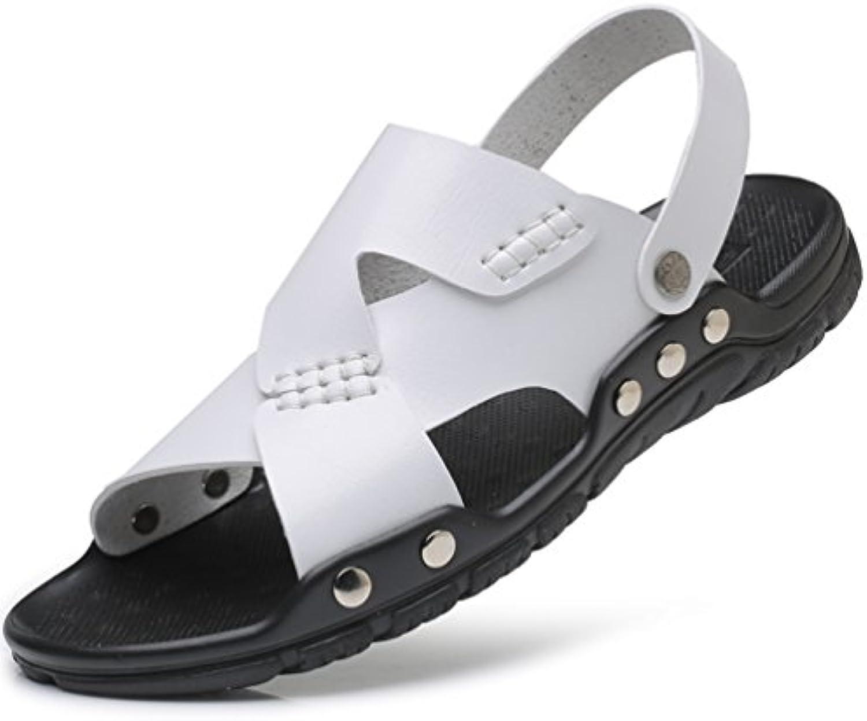 Hombres Sandalias Zapatos de Cuero de Verano al Aire Libre Playa Cómodos Hombres Zapatillas