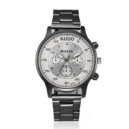 LCLrute Top Qualität Herrenuhr Fashion Men Crystal Edelstahl Analog Quarz Armbanduhr Armband (Weiß)