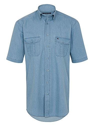 CASAMODA Herren Jeanshemd 100% Baumwolle Auch Große Größen Hellblau 43/44 (Kurzarm-jeanshemd Baumwolle)