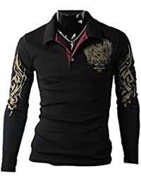 Zehui Mens Long Sleeve Casual Tee Shirts Slim Fit Eagle Tattoo Printed T-shirt