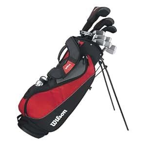 Wilson Anfänger-Komplettsatz, 11 Golfschläger mit Carrybag, Herren (rechte Hand) Profile VF, Schwarz/Grau/Rot, WGG157241