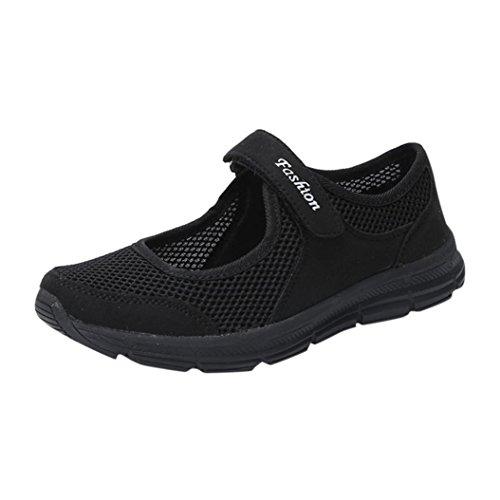 Ansenesna Sandalen Damen Sommer Klettverschluss Flach Sport Sommerschuhe Offen Stoff Atmungsaktiv Schuhe (36, Schwarz)