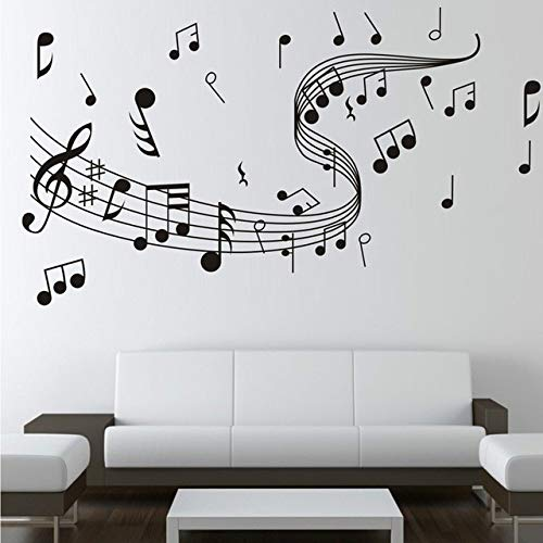 Adesivo da parete musica nero note musicali carta da parati camera da letto soggiorno classico spartiti musica decorativa adesivi rimovibili