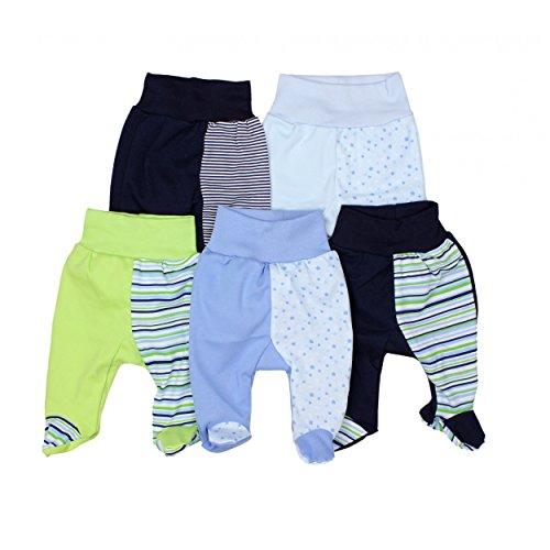 TupTam Unisex Baby Strampelhose mit Fuß Baumwolle 5er Pack, Farbe: Junge 2, Größe: 56