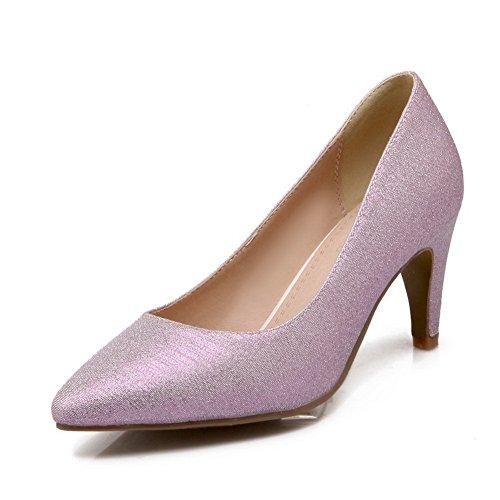 BalaMasa donna, alla moda, a forma di cono, tallone, dita Imitated pompe-Scarpe in pelle Purple