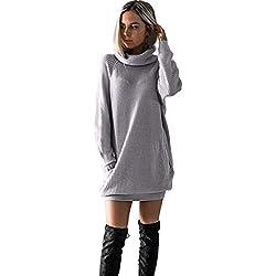 SHOBDW Mujer de Punto Vestido de Cuello de Rollo de Vestido de Puente Damas Mini tamaño (Gris, M)
