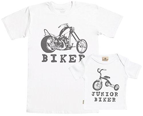 SR - Biker & Junior Biker Set zur Geburt Vater T-Shirt und Baby T-Shirt in Geschenkbox - Vater Baby Geschenkset in Geschenkbox Weiß, L & 0-6 Monate -
