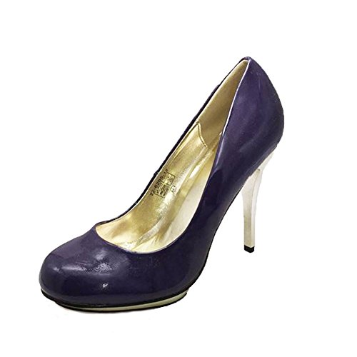 Purple patent rounded to court shoes with gold metal stiletto high heel Patent Metal Heels Stiletto Pump