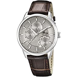 Lotus Men's Quartz Watch with Beige Dial Analogue Display and Brown Leather Strap 15974/2