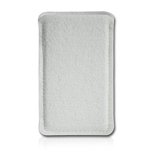 Filz Style Wiko Riff Premium Filz Handy Tasche Hülle Etui passgenau für Wiko Riff - Farbe weiß