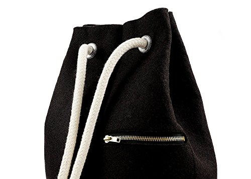 Seesack Rucksack Filz & Kork 14l, fair und veganer Daypack Rucksack Schwarz Damen, Kordeln verstellbar, rucksack frauen, UlStO - 3