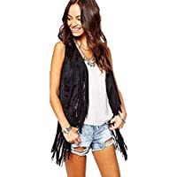Hmeng Clearance !!! Ladies Kimono Women Autumn Winter Faux Suede Ethnic Sleeveless Fringed Vest