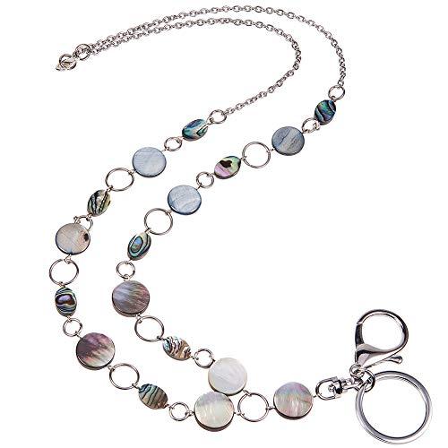 Damenmode Perlen Abzeichen Lanyard Halskette, Starter Kit ID Namensschild Halter Edelstahl Schlüsselanhänger Making Kit mit Karabinerverschluss ()