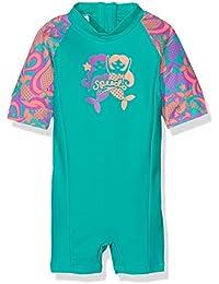 Speedo Girls 'de pompas esencial todo en uno Suit, niña, Blowing Bubbles Essential, Jade/Orchid/Soft Coral, 3 Años