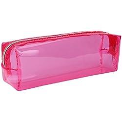 Covermason Caramelo Color Caja de lápices Transparente Estuches (Rosa caliente)