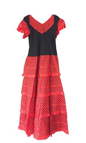 e Flamenco Kleid / Kostüm - für Mädchen / Kinder - Rot / Schwarz (Größe 34-36 - Länge 115 cm, Mehrfarbig) (Frozen Kleid Für Baby)
