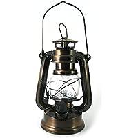 Farol Decorativo Vintage LED a Pilas - Lámpara Retro Bronce Mesa de Camping, Jardín, Salon - Estilo Farol de Aceite de PK Green