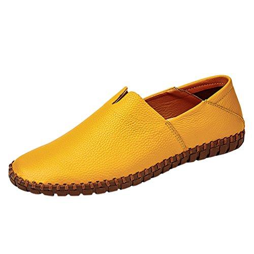 Dooxi uomo classic elegante piatto mocassini scarpe casuale scivolare loafers scarpe giallo 38