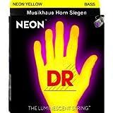 DR STRINGS - farbige Bass-Saiten - Neon Gelb - 4 Saiter - 045 - 105