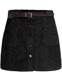 SOLYHUX Damen kurzer Mini Kord hocher Tailler Knopfverschlusser Rock mit  Taschen und Gürtel 7ac23c9d4c