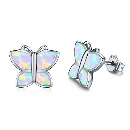 Orecchini a perno in argento Sterling, per cartilagine e trago, a forma di farfalla, per donne e ragazze e Argento, colore: Silver - Butterfly Stud Earring, cod. KINGWHYTE