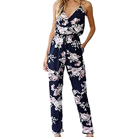 Womens Jumpsuits, SHOBDW Women Backless Jumpsuit Sleeveless V-Neck Floral Printed