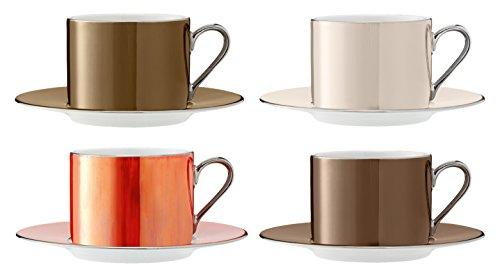 LSA International 0,25 l métallique Pois Tasse à thé et Soucoupe, Couleurs Assorties (Lot de 4)
