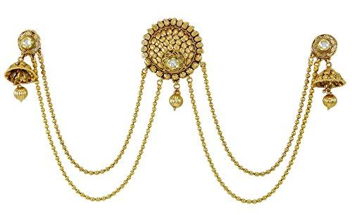 ethnischen Kopfbedeckung Schmuck goldfarbenes Haar-Accessoire Jhumka Troddelohrringe (Indische Haar Accessoires)