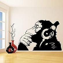 Adhesivo de pared de vinilo Banksy mono con auriculares Chimpancé escuchar música en auriculares Street Graffiti