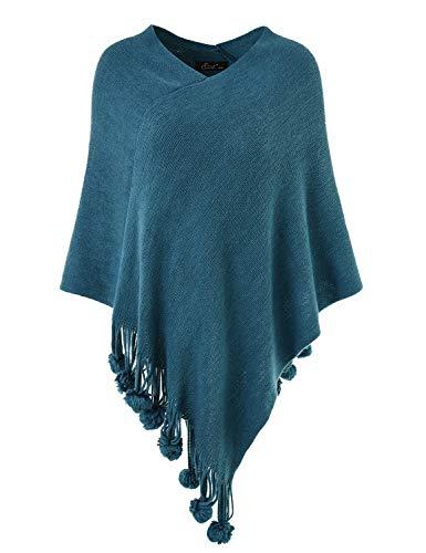 Ferand Damen Gemütlicher Warmer Poncho Pullover mit Mehrweg-Ausschnitt und Süßen Bommeln, One Size, Blaugrün