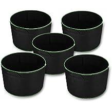 Powerextra 5 Paquetes de 15 Galones Crecen Bolsas, Paneles de Cultivo de la tela, Paneles de la tela de la Aireación Plantador con las Manijas de la Correa