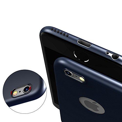 Egotude® Original Soft Silicone Slim Back Cover Case for Apple iPhone 6S & 6 Dark Navy Blue