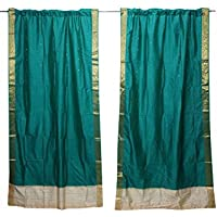 Mogul Interior 2 Indian Curtain Drape Green Window Treatment Wedding Decor 84x44
