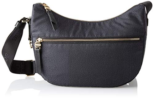 Borbonese Luna Bag, Borsa a Tracolla Donna, Nero, 28x24x11 cm (W x H x L)