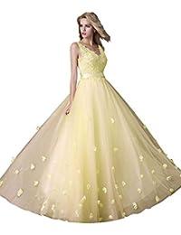 Beauty-Emily Una línea-sin mangas Flores doble V-cuello con cordón vestido