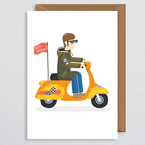 Geburtstagskarte für Papa - Vespa - Wir sind die Mods - Vespa Roller Geschenke - Northern Soul - Geburtstagskarten - Retro Geburtstagskarte - Freund - Bruder - Ehemann - Quadrophenia - Sohn (Roller Die Happys)