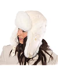 New Mens Womens Unisex Fur PU Leather Trapper Warm Winter Thermal Hat AW120