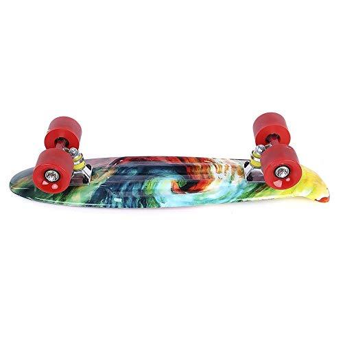 Tianzhiyi Anfänger 22 Zoll Druckmuster Allrad Langes Skateboard PP Board Deck