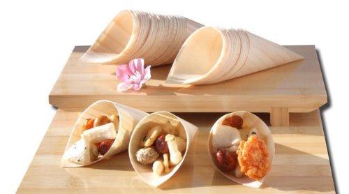Gifts Of The Orient GOTO® - Conos De Madera De Bambú X 100 Para Fiesta Alimentos, Snacks, Bocadillos, Canapé 125X65Mm