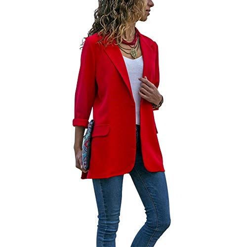 donne Blazer casual autunno primavera manica lunga turn down Collar Slim casual Solid color Blazer rosso red XL