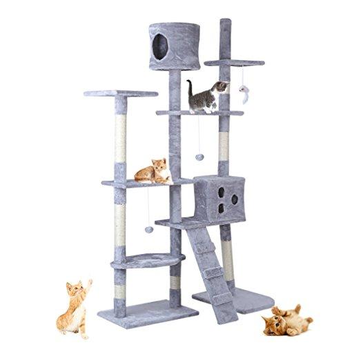 ALTERDJ Cat Scratching Post Constructed E1 Grade Particleboard Kitten Cat Tree Activity Centre Bed Climbing Jumping Frame cat Toy Scratcher 93-150cm (grey) …