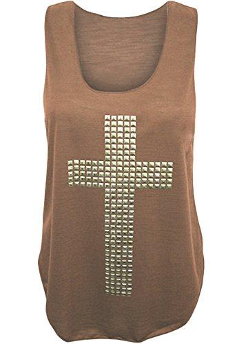 Frauen Pailletten Kreuzen Vest Top ärmellose elastische Tank Top Verschiedene Farben Größe 36-42 Braun - Mokkafarben