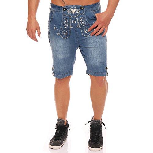 87E4 Wanderwald Herren Denim Short Premium Falke Trachten Jeans Hellblau Gr. 46