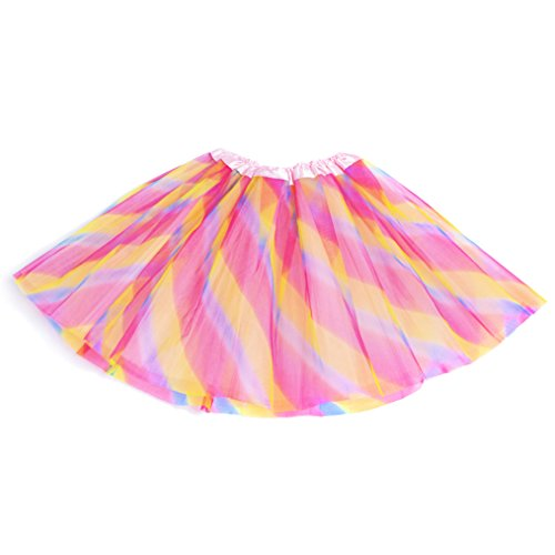 Tutu Rock Petticoat Pettiskirt 3 Layers Tüll Minirock Tanzkleid Unterrock für Fasching Rainbow (Layer-petticoat Rock)