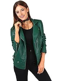 KRISP® Femmes Vestes Blousons Biker Cuir Synthéthique Asymétrique Casual Vintage