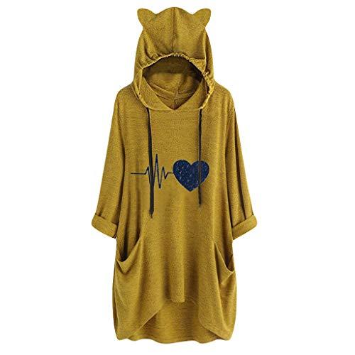 LILIHOT Frauen BeiläUfige Mit Kapuze Lange HüLsen Katzen Ohr Druck Taschen Hemd UnregelmäßIge Spitzenbluse Damen Hoodies Pullover Sweatshirts Kapuzenpullover