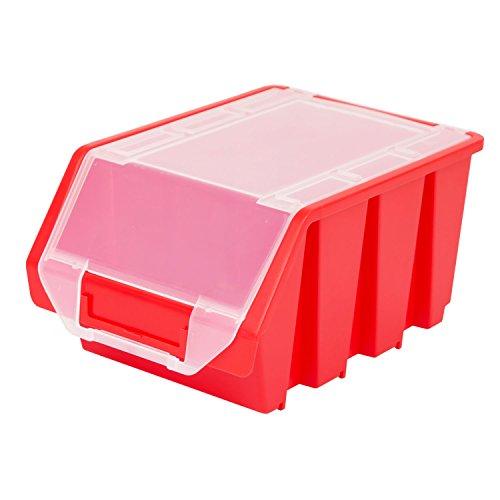 Stapelbox Stapelkiste Sortierbox Ergobox mit Deckel Gr. 3 rot Lager