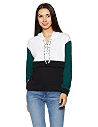 Forever 21 Womens Plain Cotton Sweatshirt (00213128033_0021312803_White/Teal_3)