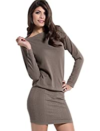 54686410bbc1 SENSI  Vestito Donna Collo Barchetta Manica Lunga Lana Viscosa Traspirante  Senza Cuciture Seamless Made in