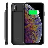 iPhone XS Max 2018 6.5 inch Akku Hülle, [Kopfhörer] 6000mAh Wiederaufladbar Externer AkkuCase Extra Aufladbar Batterie Ladehülle Ersatzakku Ladegerät Handyhülle Power Bank Backup Schutzhülle schwarz